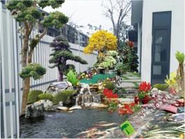 Trồng cây xanh sân vườn biệt thự – Thi công Hồ cá Koi tại Khu Đô thị Xuân Phương